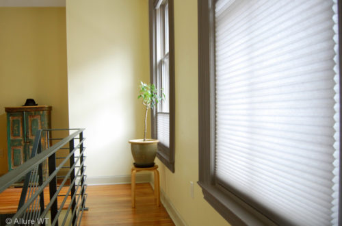 honeycomb shades in hallway