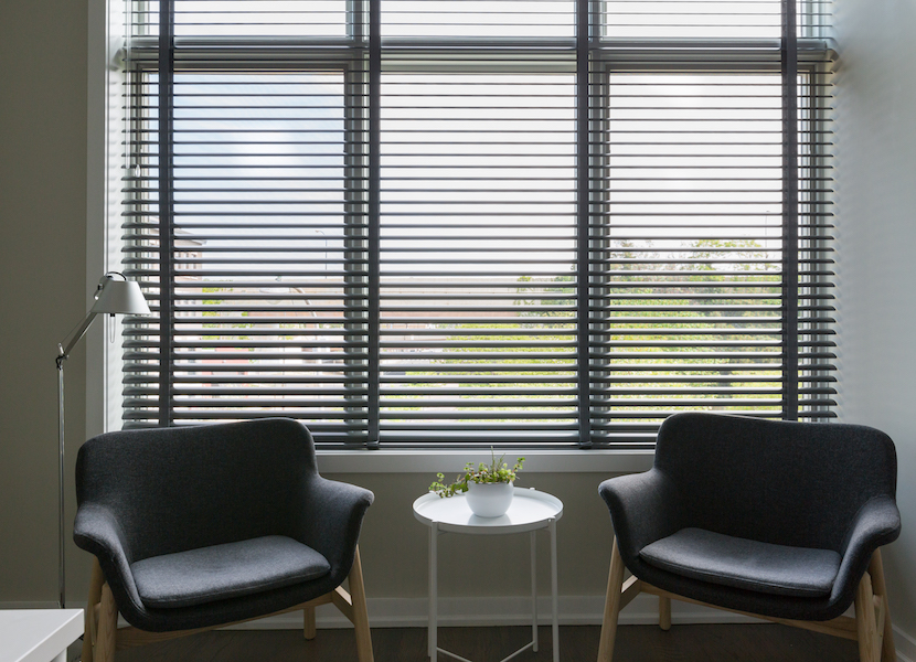 blinds in home office