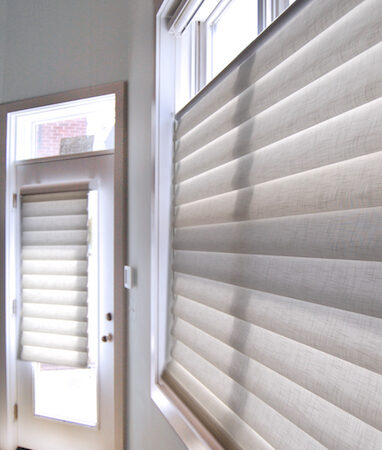 honeycomb shades in entry way