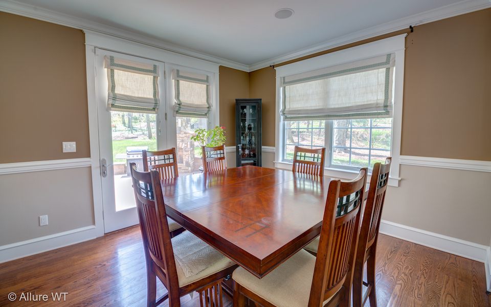 roman shades in dining room