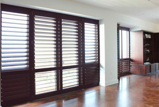 indoor shutters brown